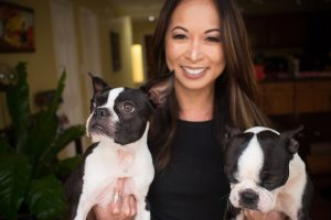 Hannah Zulueta and her two dogs Maggie and Orbit